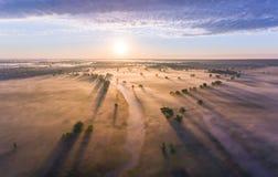 Le lever de soleil aérien avec le brouillard à l'arbre complète dans la campagne rurale Photo stock