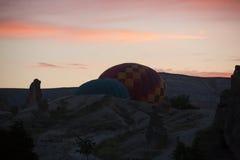 Le lever de soleil au-dessus de Cappadocia Images stock