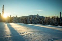 Le lever de soleil au-dessus des champs neigeux, oreilles de lapin passent, Steamboat Springs, le Colorado photo libre de droits