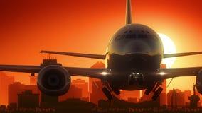 Le lever de soleil d'horizon de Wichita le Kansas Etats-Unis Amérique décollent illustration de vecteur