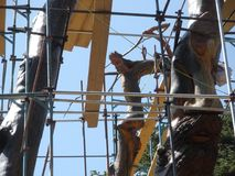 Le Liban découpé Cedar Art, place de trinité ou arbre de Lamartine, Cedar Wood découpé, forêt des cèdres de Dieu, Liban Photographie stock libre de droits