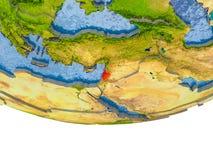 Le Liban en rouge sur le modèle de la terre Photos stock
