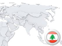 Le Liban sur la carte de l'Asie illustration stock