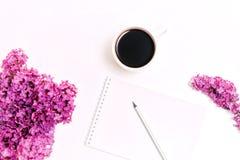 Le lieu de travail avec la tasse du lilas de crayon de laiterie de café fleurit Photo stock