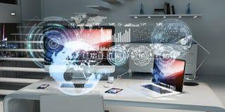 Le lieu de travail avec les dispositifs et l'hologramme modernes examine le rendu 3D Photographie stock libre de droits