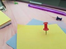 Le lieu de travail de disposition coloré par bloc-notes de papier blanc de punaise écrivent le rose de marqueurs de note de conce Photographie stock libre de droits