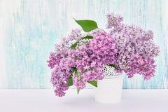 Le lilas fleurit le bouquet dans le vase blanc sur le fond bleu vacances photos libres de droits