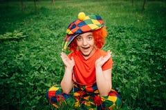 Le lilla flickan i clownperuk Fotografering för Bildbyråer