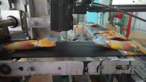 Le linee automatiche del trasportatore per la produzione del gelato video d archivio
