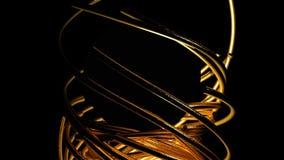 Le linee dell'oro piegano un cerchio illustrazione di stock