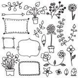 Le linee e le bande ornamentali scarabocchiano il confine del vettore di schizzo del fiore del disegno della carta bianca royalty illustrazione gratis