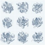 Le linee e le forme sottraggono gli ambiti di provenienza isometrici 3d di vettore Layou Fotografia Stock