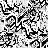 Le linee ed il cuore monocromatici dei graffiti su un modello senza cuciture del fondo bianco vector l'illustrazione royalty illustrazione gratis