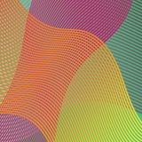 Le linee ondulate variopinte in un fondo astratto progettano il vettore in onde di giallo verde arancio e rosa porpora illustrazione vettoriale