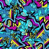Le linee psichedeliche ed il cuore dei graffiti su un modello senza cuciture del fondo bianco vector l'illustrazione Fotografia Stock Libera da Diritti