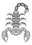 Le linee pulite scarabocchiano la progettazione dello scorpione per il tatuaggio, il grafico della maglietta ed il libro da color Immagini Stock Libere da Diritti
