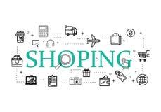 Le linee sottili icone di web hanno fissato - il commercio elettronico, comperante royalty illustrazione gratis
