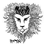 Le lion détaillé dans la gravure de style et le symbole expriment le lion dans l'hébreu Police décorative de main Photo libre de droits