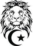 Le lion et le symbole de l'Islam - croissant et étoile photo libre de droits