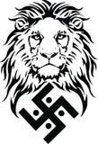 Le lion et le symbole de la religion indienne du ja?nisme - le svastika photos libres de droits