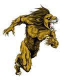 Le lion folâtre le fonctionnement de mascotte Image stock