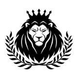 Le lion royal dans la couronne et le laurier tressent illustration de vecteur