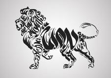 Le lion silhouette des labels et des insignes Élément caligtaphic de rétro conception de vecteur, Photo libre de droits