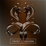 Le liquide de chocolat d'éclaboussement et de mouvement giratoire pour la conception emploie l'illustration 3d d'isolement illustration de vecteur