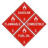 le liquide inflammable combustible marque l'avertissement Photo libre de droits