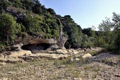 Le lit de la rivière Gardon complètement sec Photos libres de droits