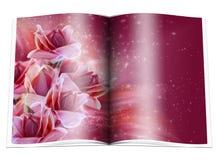 Le livre avec la forêt tropicale fleurit et se tient le premier rôle Photographie stock libre de droits