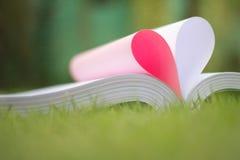 le livre a courbé une forme de coeur Photographie stock