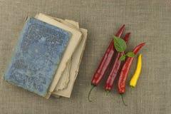 Le livre de vieilles recettes Poivrons de piment, ingrédients pour la préparation alimentaire Place pour le texte Images libres de droits