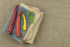Le livre de vieilles recettes Poivrons de piment, ingrédients pour la préparation alimentaire Place pour le texte Photos stock