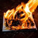 Le livre est sur le feu photographie stock