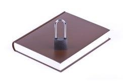Le livre et le cadenas bruns Images stock