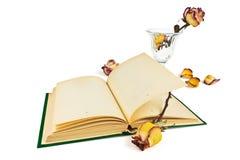 Le livre et les roses Photo stock