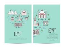 Le livret de visite de voyage de l'Egypte a placé dans le style linéaire illustration libre de droits