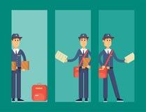 Le livreur de facteur carde le transport masculin mignon de paquet de transporteur de profession de messager de vecteur de caract illustration libre de droits