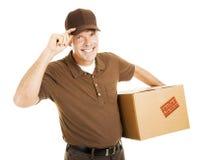 Le livreur poli incline le chapeau photographie stock libre de droits