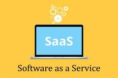 Le logiciel de Saas comme concept de service avec l'ordinateur portable et l'affiche textotent l'icône de vitesse Photographie stock