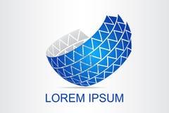 Le logo abstrait de technologie a stylisé la surface sphérique avec des formes abstraites Images stock