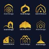 Le logo arabe de fenêtres et de portes d'or dirigent la scénographie
