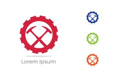 Le logo d'exploitation, la conception de logo de service des réparations de voiture, marteau dans l'icône de vitesse, mécanicien  illustration libre de droits