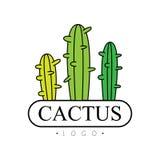 Le logo de cactus, insigne avec des usines de désert dirigent l'illustration sur un fond blanc Image libre de droits