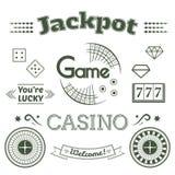 Le logo de casino et le jeu d'ensemble de label dirigent l'illustration Photos stock