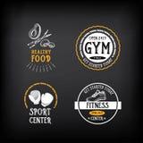 Le logo de gymnase et de centre de fitness conçoivent, folâtrent l'insigne Vecteur avec le graphique Image stock