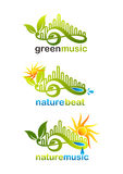 Le logo de musique, le symbole de battement de nature et l'icône verts de musique de nature conçoivent Photos stock
