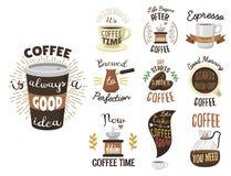 Le logo de ruban de labels de café de vintage et la calligraphie de vecteur d'insignes cassent le lettrage de typographie Photo libre de droits