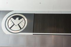 Le logo de S H I E L d est un espionnage fictif, chargé de faire respecter la loi spécial, apparaissant en bandes dessinées améri photographie stock